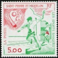 SAINT PIERRE AND MIQUELON SPM 1991 Pala Player Chistera Ball And Hand Sports MNH - Briefmarken