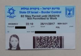 Israel Border Control Stay Permit Contrôle Des Frontières Permis De Séjour - Documentos Históricos