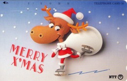 JAPON. NAVIDAD. Merry X'Mas - Skating Reindeer. 11/1994. JP 111-047 C. (124) - Natale