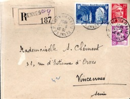 LETTRE RECOMMANDEE 1951 - POSTEE A RENNES - - Francia