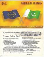 GREECE - Hello King, RG Comm Prepaid Card 5 Euro, Thick CN, Used - Grèce