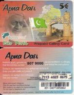 GREECE - Pakistan, Apna Dais Prepaid Card 5 Euro, Used - Grèce
