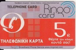 GREECE - Ringo Prepaid Card 5 Euro, Used - Grèce