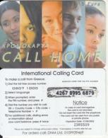 GREECE - Faces, Call Home By Satline Prepaid Card 5 Euro(logo On Reverse, Matt Surface, 0807 1000), Ed 31/08/03, Used - Grèce