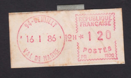 FRANCE POSTAGE RED METER PERMIT - 1985 «Carrier» Paper