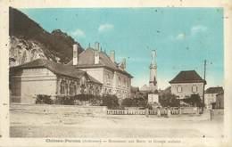 """CPA FRANCE 08 """"Château Porcien, Monument Aux Morts Et Groupe Scolaire"""" - Frankreich"""