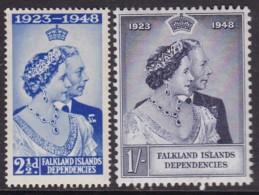 Falkland Islands Dependences 1948 Silver Jubilee Sc IL11-12 Mint Never Hinged - Falkland