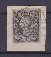 König Johann I ½ Ngr. Auf Briefstück Mit Nummernstempel 33 (= Colditz) - Saxe