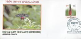 India  2018  Butterflies  Bhutan Glory  Bhutanitis Lidderdalii  Itanagar  Special Cover  # 24017   D Inde  Indien - Butterflies