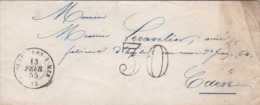 PSC De Courseulles-sur-Mer (14) Pour Caen (14) - 13 Février 1855 - CAD Rond Type 15 - Taxe Double Trait 30 - 1849-1876: Periodo Classico