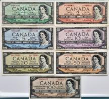 "Lot Full Banknotes 1954 Circulated ""100$+50$+20$+10$+5$+2$+1$""  VF / XF ! - Canada"