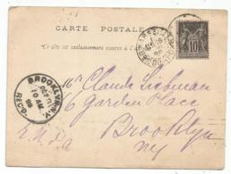 SAGE 10C SEUL CARTE A NUAGE ALGERIE EXPEDIEE DE MARSEILLE 1899 POUR BROOKLYN YUSA - Marcophilie (Lettres)