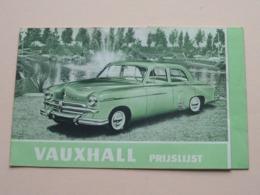VAUXHALL Prix-Courant > GM General Motors Anvers >1953 ( Voir Photo > Zie Kreuk ) Depliant / Prijsfolder ! - Publicités
