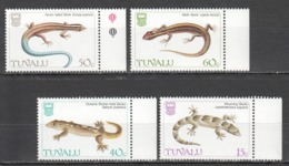 Y590 1981 TUVALU FAUNA REPTILES LIZARDS #382-85 SET MNH - Reptiles & Amphibians