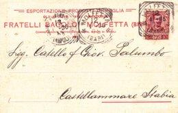 """MOLFETTA - BARI - CARTOLINA PUBBLICITARIA COMMERCIALE """"FRATELLI BACOLO"""" - OLIO D'OLIVA - VINO - MANDORLE - 1906 - Molfetta"""