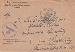 Env Frei Durch Ablösung Reich Obl SCHLETTSTADT (ELS) 1 Du 13.9.43 Adressée à Strassburg - Postmark Collection (Covers)