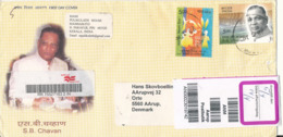 India Registered Cover Sent To Denmark 28-3-2008 Topic Stamps On Front And Backside Of The Cover - Covers & Documents