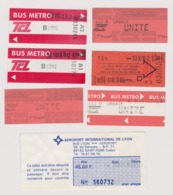 Lot 7 Tickets Bus Transports Lyon France Dont 1 Liaison Navette Aéroport > Centre - Billetes De Transporte