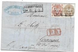 Pre220 / PREUSSEN - Saarbrücken 1865 Mi.Nr. 15 + 18 Nach Granges (Vogesen) - Pruisen