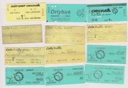 Lot 12 Tickets Bus Transport ORLY ORLYVAL ORLYBUS Et Liaison Et Alentour Aéroport Paris Orly - Billetes De Transporte