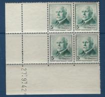 """FR Coins Datés YT 524 """" Pétain 5F Vert-bleu """" Neuf** Du 27.7.42 - Ecken (Datum)"""