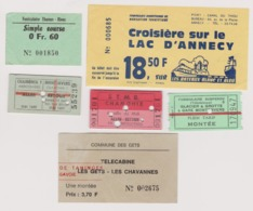 Lot 6 Tickets Secteur ALPES Télécabine Funiculaire Chamonix, Lac D'Annecy, Thonon Etc... - Billetes De Transporte