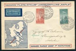 1938 Denmark Airmail Exposition Copenhagen NAFILA First Flight Cover. Maribo - Kopenhagen Luftpost - Airmail