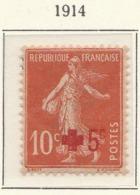 """PIA - FRA -1907-1920 :  A Favore Della Croce Rossa - """"Semeuse"""" Con Fondo Pieno E Senza Suolo- Sovrastampato  - (Yv 146) - Primo Soccorso"""
