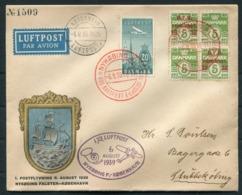 1939 Denmark Airmail First Flight Cover. Nykoping - Kopenhagen Luftpost - Airmail