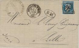 1873- Lettre De Boulogne-sue-Mer ( Pas De Calais ) Cad T17 Affr. N°60 Oblit. G C 549 + B M  De Pont De Briques - Marcophilie (Lettres)