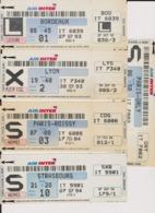 Lot 5 Cartes Embarquements Compagnie AIR INTER Paris Roissy CDG Orly, Bordeaux, Lyon, Strasbourg Années 1990 > - Europe