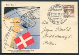 1939 Denmark Greenland 10 øre Bølgelinie På Ekspeditionskort Annulleret Dansk Nordostgrønlandsekspedition - 1913-47 (Christian X)