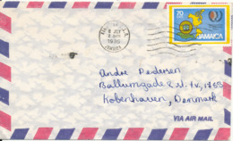 Jamaica Air Mail Cover Sent To Denmark Kingston 8-7-1986 Single Franked MAP On The Stamp - Jamaica (1962-...)