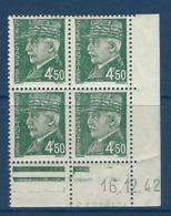 """FR Coins Datés YT 521B """" Pétain 4F50 Vert-jaune """" Neuf** Du 16.12.42 - Coins Datés"""