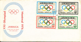 Jamaica FDC Olympic Games Montreal 14-6-1976 Complete Set Of 4 With Cachet See The Backside Of The Cover For The Quality - Jamaica (1962-...)