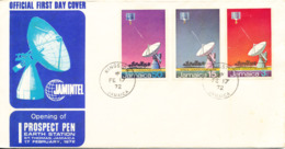 Jamaica FDC 17-2-1972 Opening Of Prospect Pen Earth Station Complete Set Of 3 With Cachet - Jamaica (1962-...)