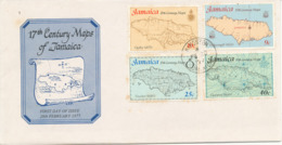 Jamaica FDC 20-2-1977 17th Century Maps Of Jamaica Complete Set Of 4 With Cachet (Rust Stains On The Cover) - Jamaica (1962-...)
