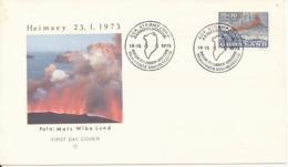 Greenland FDC Volcano Heimaey Eruption 18-10-1973 With Cachet Sent To Denmark - Volcanos