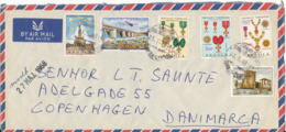 Angola Portuguese Air Mail Cover Sent To Denmark 23-5-1968 With More Topic Stamps (1 Of The Stamps Is Damaged) - Angola