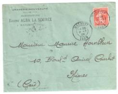MAZAMET Tarn Lettre Entête ALBA La SOURCE Manufacture Draperie 10 C Semeuse Yv 138 Ob 84 Type 1909 - Cartas