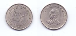 Congo 5 Makuta 1967 - Congo (Democratische Republiek 1964-70)