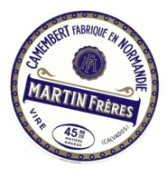 ETIQUETTE De FROMAGE..CAMEMBERT Fabriqué En NORMANDIE..MARTIN Frères à VIRE ( Calvados 14) - Fromage