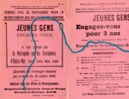 """2 Documents-"""" Jeunes Gens- Engagez Vous...""""(- - Documents"""