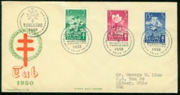 Fd Finland FDC 1950 MiNr 385-377 | Anti-tuberculosis Fund | Cover Sent To USA | Turxu-Åbo 1.4.1950 - Finland