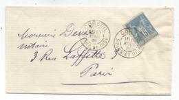 SAGE 15C N° 90 LETTRE DAGUIN CORBEIL 15 AVRIL 1885 SEINE ET OISE - Marcophilie (Lettres)