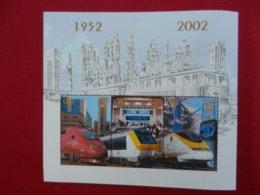 Planche De Timbres - Belgique - Locomotive 1952-2002 - Foglietti