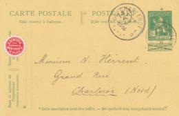 469/30 -- VIGNETTES - Entier Postal Pellens MONTIGNY Le TILLEUL 1914 Vers CHARLEROY - Vignette Pharmacien Derestia - Stamped Stationery