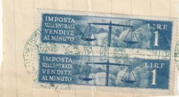 REGNO D'ITALIA - VENDITE AL MINUTO - COPPIA DA LIRE 1.- - Fiscales
