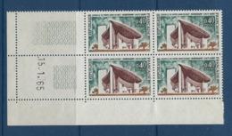 """FR Coins Datés YT 1435 """" Chapelle De Ronchamp """" 1965 Neuf** Du 15.1.65 - Ecken (Datum)"""