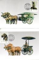 CHINE. N°2998-9 + Timbre Issu Du BF 55 Sur 3 Cartes Maximum De 1990. Chariots De Bronze. - Archäologie